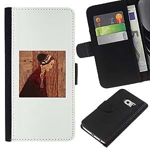Planetar® Modelo colorido cuero carpeta tirón caso cubierta piel Holster Funda protección Para Samsung Galaxy S6 EDGE / SM-G925(NOT FOR S6!!!) / SM-G925(NOT FOR S6!!!) ( Pintura Clean vestido blanco profundo)