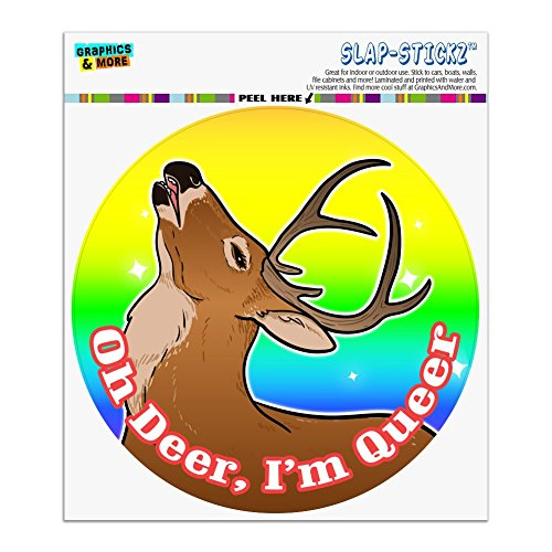 Graphics and More Oh Deer I'm Queer Rainbow Pride Gay Lesbian Funny Automotive Car Window Locker Circle Bumper Sticker ()