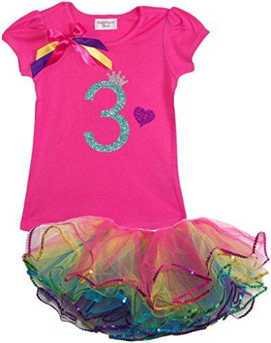 Mardi Gras Themed Outfits (Bubblegum Divas Little Girls' 3rd Birthday Rainbow Tutu Outfit 3)