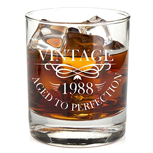 1988 30th Birthday Lowball Whiskey Glass for Men and Women - Vintage Aged To Perfection - Anniversary Gift Idea for Him, Her, Husband or Wife - 30 Year Old Presents for Mom, Dad - 11 oz Bourbon Scotch ()