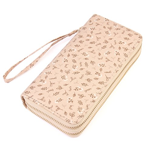 Lovely Floral Print Zip Around Wallet - Cute Flower Pattern Double Zipper Clutch Long Purse Card & Phone Wristlet Strap (Tiny Leaf - ()