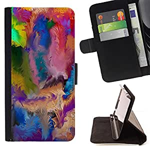 BullDog Case - FOR/LG G3 / - / swirl colorful pattern blue oil paint /- Monedero de cuero de la PU Llevar cubierta de la caja con el ID Credit Card Slots Flip funda de cuer