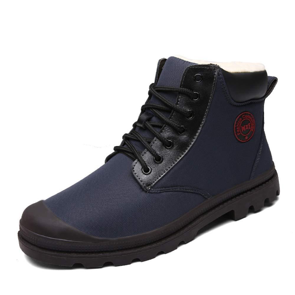 DZX Herren Stiefeletten Winter Schnee Warme Stiefel/Wasserdichte Schneeschuhe, Schnüren Sie Sich Rutschfeste Schuhe, Für Wandern, Wandern Und Arbeiten,Blau-40