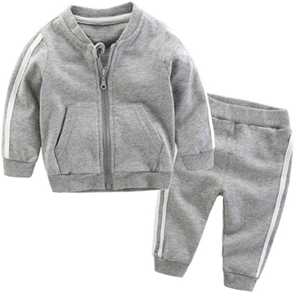 Anna&Judy Little Boys Girls Cotton Long Sleeve Zip Sweatshirt and Pant Tracksuit Sets