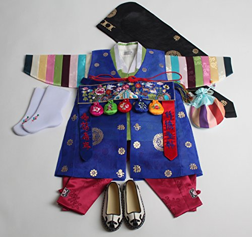 Korean Traditional Costume For Boys (Korean hanbok boys babys ORIGINAL DOLBOK 1ST BIRTHDAY traditional costumes)