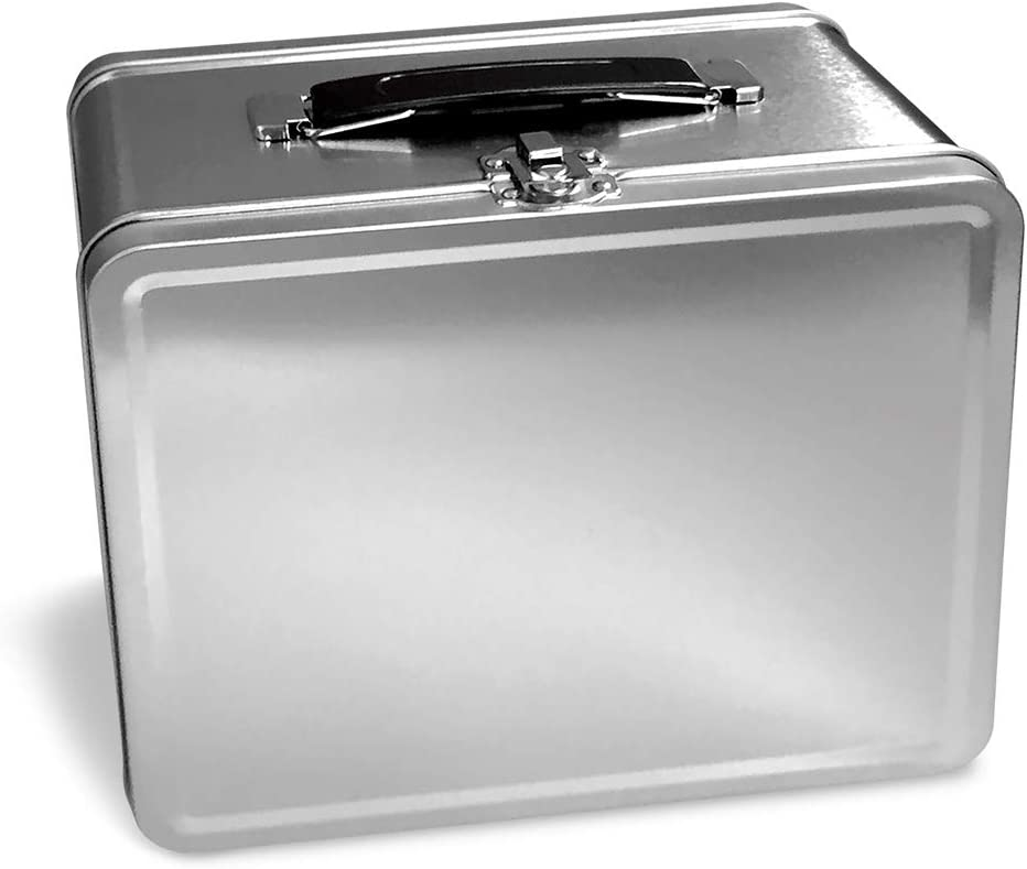 Vintage Silver Metal Box   6 x 5 2 tall