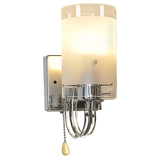 wall light for bedroom with pull cord midore clear glass wall light