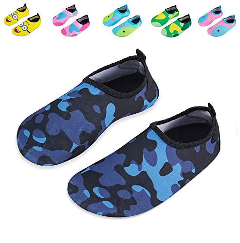 (Mabove Kids Swim Water Shoes Non-Slip Quick Dry Barefoot Aqua Pool Socks Shoes for Boys & Girls Toddler (Camouflage Black,)