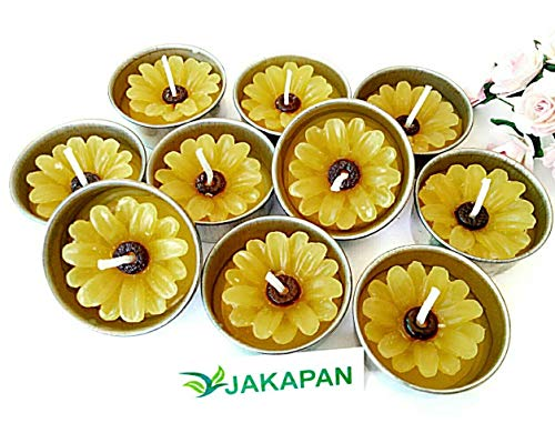 Jakapan Yellow Daisy Flower Candle in Tea Lights,Scented Tea Lights, Aromatherapy Relax (Pack of 10 Pcs.) (Candle Scented Daisy)