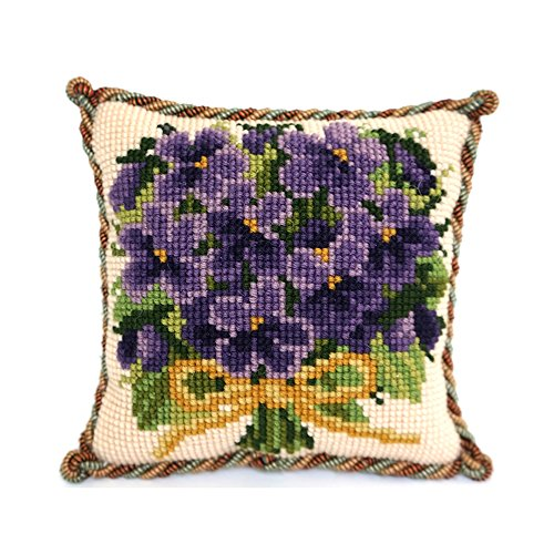 Posy of Violets Mini Needlepoint Tapestry Kit from Elizabeth Bradley premium English needlework on 10 mesh for a beginner or easy project with 100% wool yarns