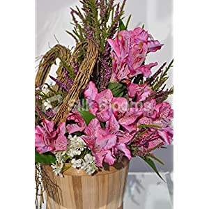 Rustic Country Inspired Pink Alstroemeria Basket Floral Display with Heather and Stephanotis 5