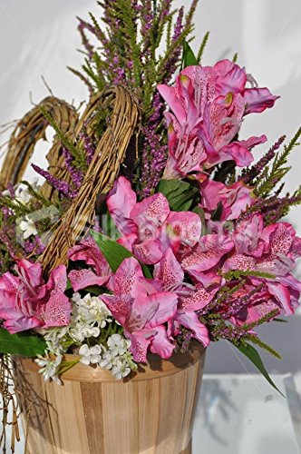 Rustic-Country-Inspired-Pink-Alstroemeria-Basket-Floral-Display-with-Heather-and-Stephanotis