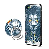 SJDEI5W Rasta Lion Mobile Phone Ring Stent + iPhone 8 Case/iPhone 7 Case, PC Rubber Case Compatible iPhone 8 2017/ iPhone 7
