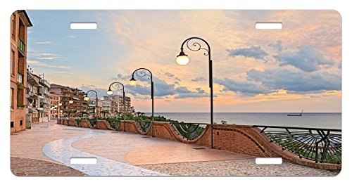 zaeshe3536658 Italian License Plate, Dawn at Ortona Abruzzo Italy Terrace View on the Adriatic Sea Print, High Gloss Aluminum Novelty Plate, 6 X 12 Inches. and by zaeshe3536658
