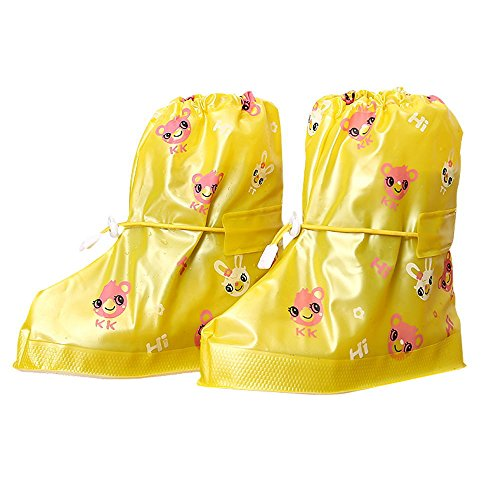 Dragon Land Fashion Waterproof Shoe Covers with Yellow Cute Animals Rain Snow Overshoes for Children Non-slip Safe Galoshes Boots for Fishing, Cycling, Outdoors (Land Cover)