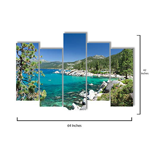 Pop Layout - 5 Piece Canvas Wall Art - Lake Tahoe - Modern Home Decor Stretched and Framed Ready to Hang - 64