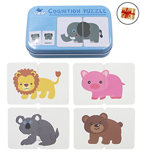 Memory Game Color Preschool (BabyPrice 32pcs Anti-Tear Flash Cards Learning Alphabet Puzzle Cards, Jigsaw Shape Matching Puzzle Cognitive Early Educational Learning Toys With Mental Storage Box)