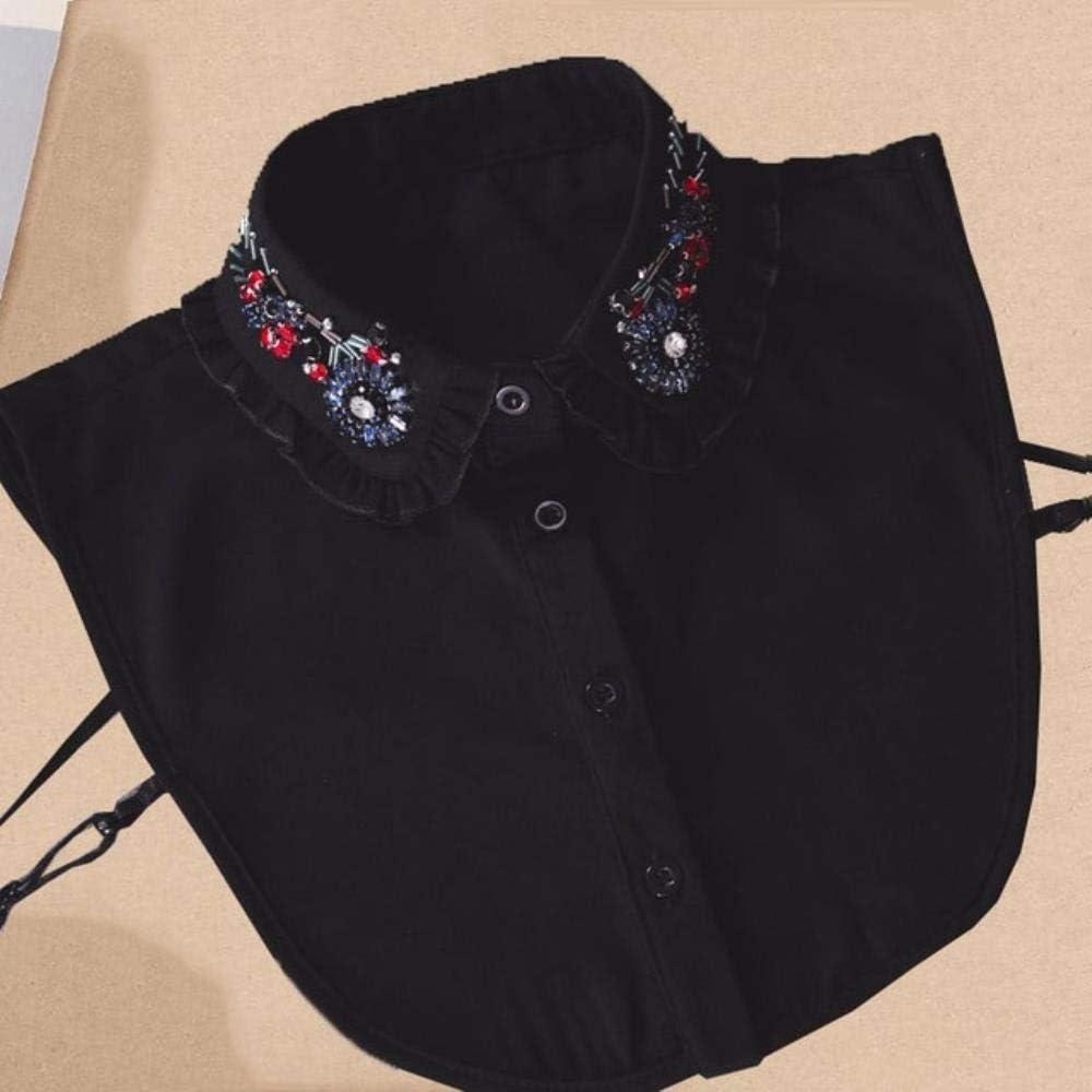DAN Perlas de Cuello Desmontables paraMujer Camisa Blanca Elegante con Cuello Falso Collares Falsos de Cristal para Mujer NEP extraíble de Encaje para Mujer, 2