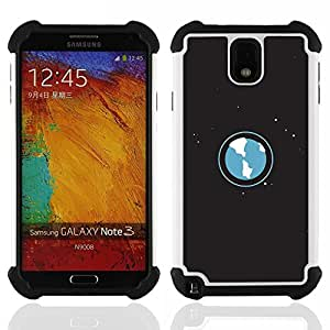 BullDog Case - FOR/Samsung Galaxy Note3 N9000 N9008V N9009 / - / Space Planet Galaxy Stars 53 /- H??brido Heavy Duty caja del tel??fono protector din??mico - silicona suave