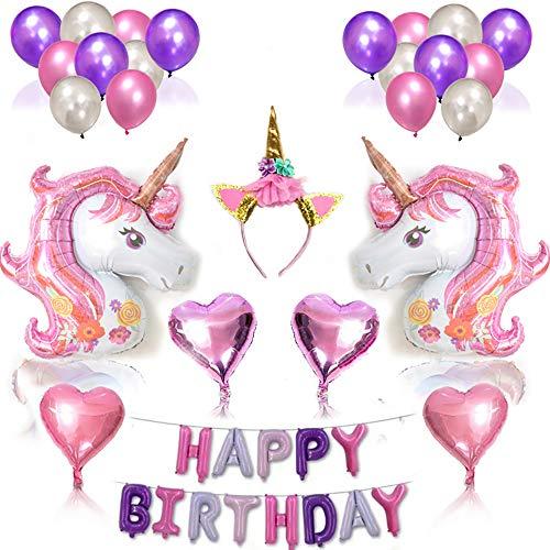 YJSBIZ Big Unicorn Balloon Birthday Decorations Set and Cake Toppers - Unicorn Party Supplies - Large Magical Unicorn Foil Balloons, Heart Balloons, Unicorn Headband, 38 Packs for $<!--$15.99-->