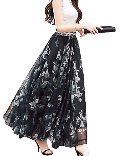 cf7022e9b1 Afibi Women Full/ankle Length Blending Maxi Chiffon Long Skirt Beach Skirt  (Medium,