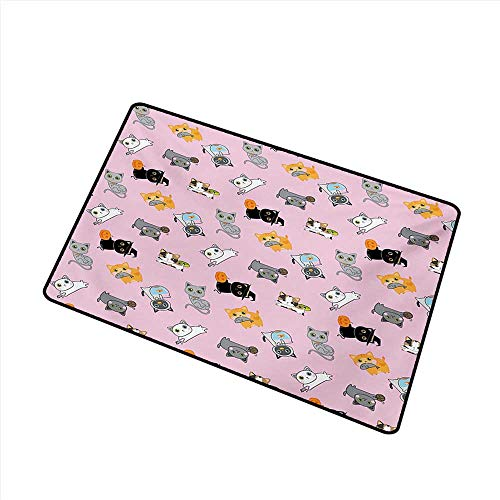 Fashion Door mat Cat Colorful Cute Kittens Playing with Fish Mice and Yarnball Different Breeds of Feline W24 xL35 with Anti-Slip Support