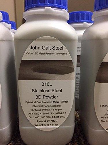 3D 316L Spherical Gas Atomized metal powder 11lb bottles for Additive Manufacturing by John Galt Steel