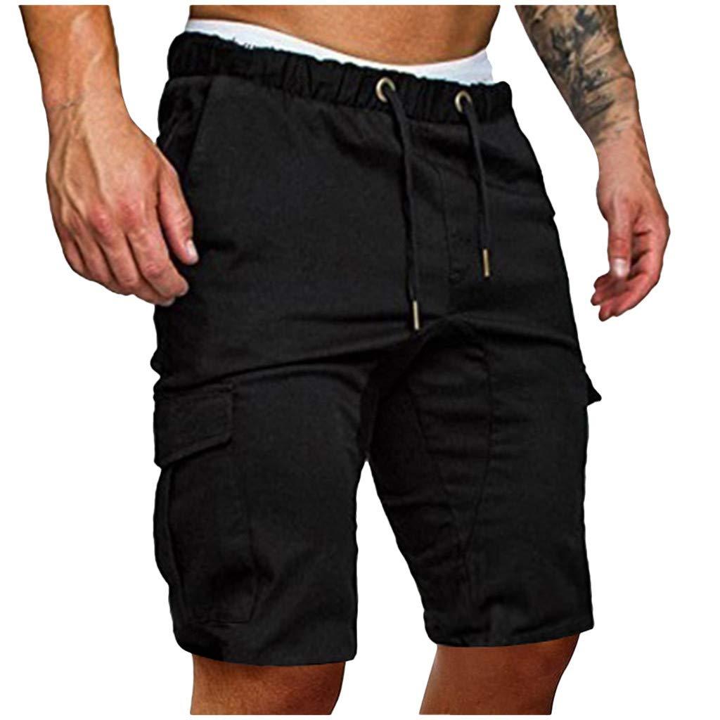 Hommes Shorts de Sport Bermudas Cargo Outdoor Casual L/âche avec Poche Running Jogging Fitness Pantalon Court avec Cordon Baggy Grande Taille Pantalons