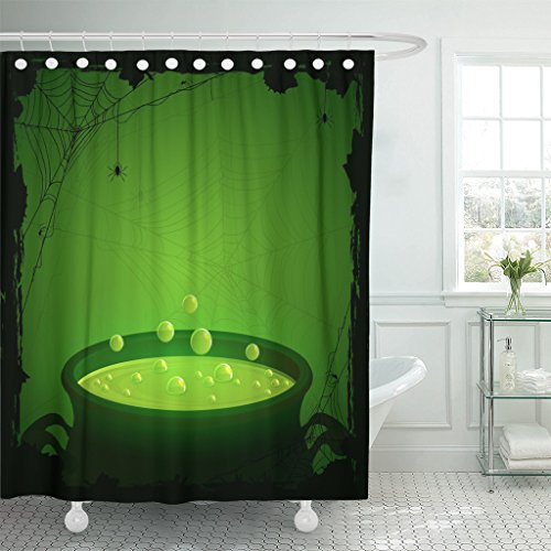 Emvency Shower Curtain Witch Halloween Witches Cauldron Green Potion and Spiders Brew Waterproof Polyester Fabric 60 x 72 Inches Set with -