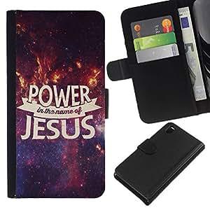 All Phone Most Case / Oferta Especial Cáscara Funda de cuero Monedero Cubierta de proteccion Caso / Wallet Case for Sony Xperia Z3 D6603 // BIBLE Power In The Name Of Jesus