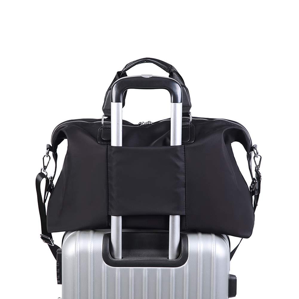 Black Carry on Bag Travel Weekender Bag Duffel Tote Bag Overnight Bag with Shoulder Strap for men and women
