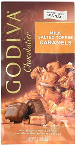 Salted Caramel - Godiva Milk Chocolate Salted Toffee Caramels 3.3 Oz