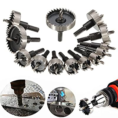 DRILLPRO 13 Pcs HSS Drill Bit Hole Saw For Stainless High Speed Steel Metal Alloy 16 -53 mm