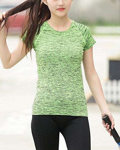 Mujer de la aptitud se divierte la camiseta de manga corta sudor Verde