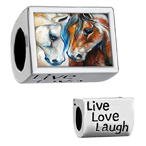 Fit Pandora Charms Silver Plated Horse Photo Charm Beads (4.8-5mm) ()