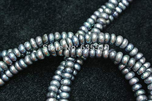 Calvas 1 Strand 5~6mm Silver Gray Pearl Rondelle Button Jewelry Loose Beads