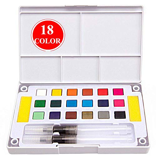 Kalolary Watercolor Painting Set- 18 Colors Watercolor Set- Water Colors Travel Pocket Set - Great for Artist, Kids & Adults Outdoor Painting, Holiday Gift - Set Gift Connoisseur