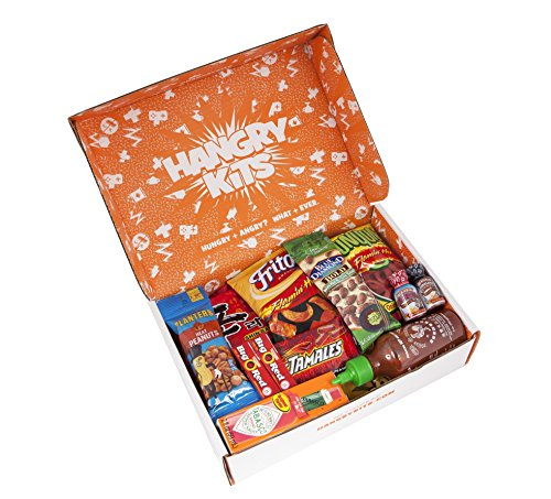HANGRY KIT - SPICY Kit - Snack Sampler - Care Package - Gift Pack - Variety of 19 Sizzling Hot Chips, Candies, Peanuts, Gum, Ramen, Sauces and more Included - - Overseas First Class Mail