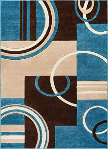 Echo Shapes & Circles Blue & Brown Modern Geometric Comfy Casual Hand Carved Area Rug 8x10 8x11 ( 7