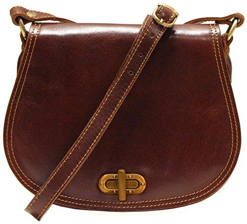 Calfskin Shoulder Bag - Floto Women's Saddle Bag in Brown Italian Calfskin Leather - handbag shoulder bag