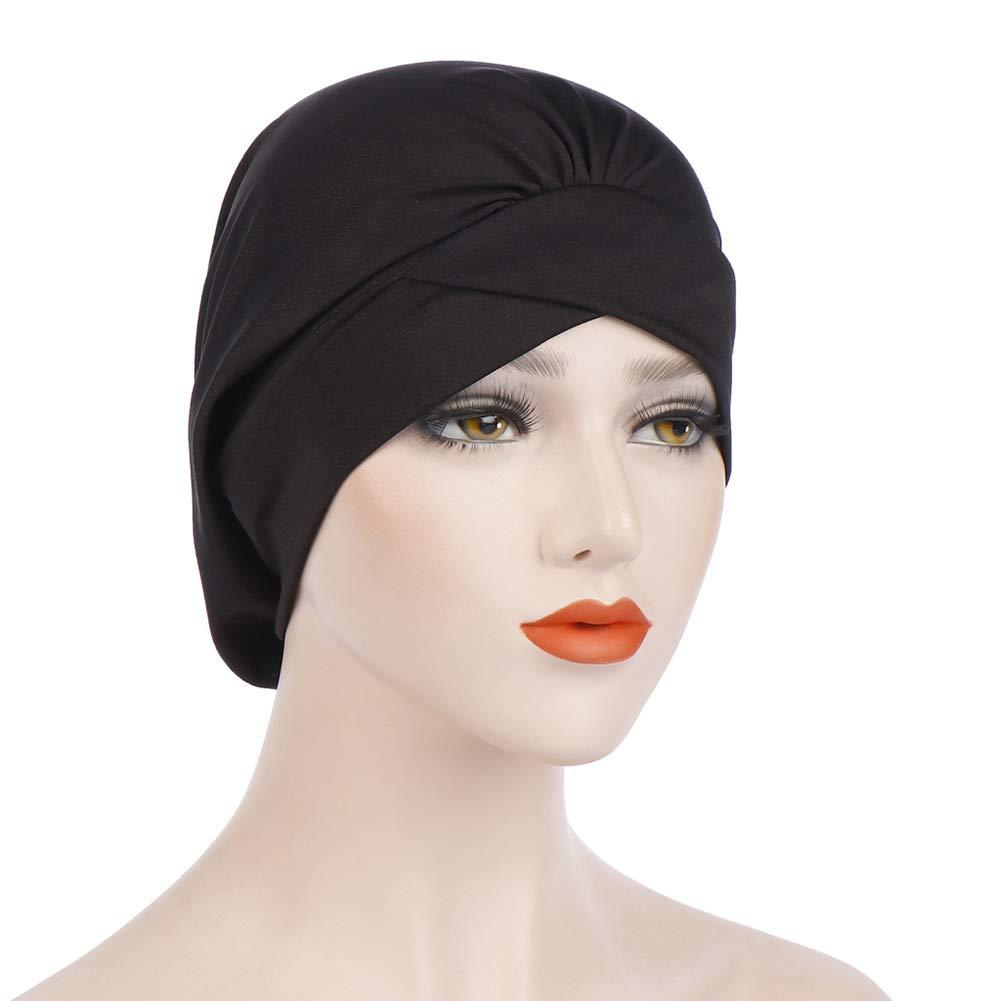 BrawljRORty Women's Hats, Fashion Cross Pleated Decor Women Muslim Hijab Turban Hat Head Wrap Elastic Cap