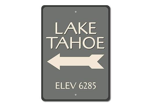 Lago Tahoe señal, señal de elevación lago, lago flecha signo ...