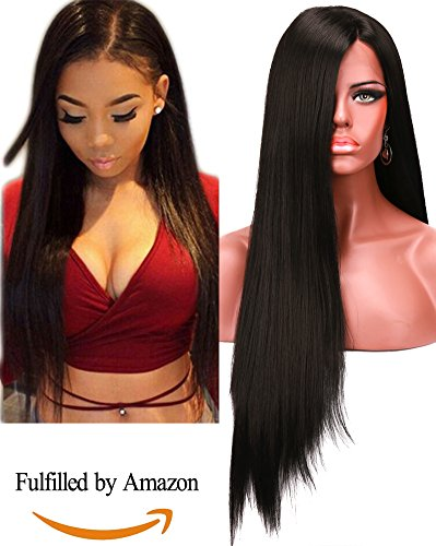 COLODO Synthetic Lace Front Wigs For Women Black Color High Density Long Straight Wig 30'' (Black Long Wig With Two Braids)