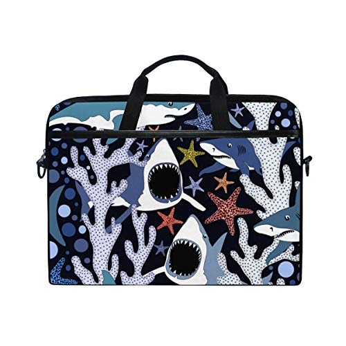 Most Dangerous Sharks - TARTINY 15-15.4 Inch Laptop Bag Seamless Pattern Dangerous Sharks Vector Summer Shoulder Messenger Bags Sleeve Case Tablet Briefcase with Handle Strap