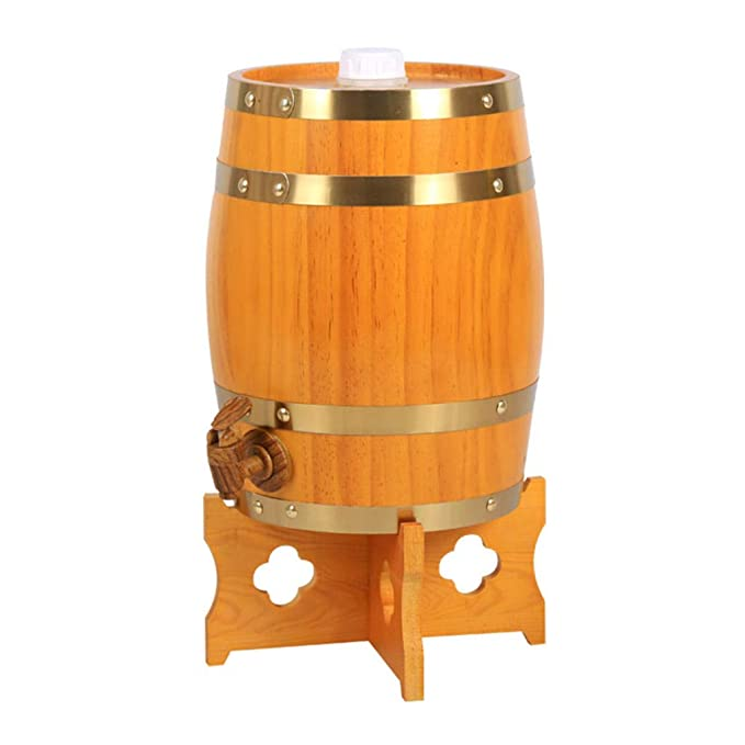 Barril de Vino de Madera Dispensador para Guardar su Propio Whisky, Cerveza, Vino, borbón, Brandy, Salsa Caliente y más - Amarillo 5 litros: Amazon.es: ...