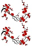 Emmas Two Asian Cherry Blossom Sakura Flower Iron on Embroidered Appliques Patch Japanese Chinese (Red)