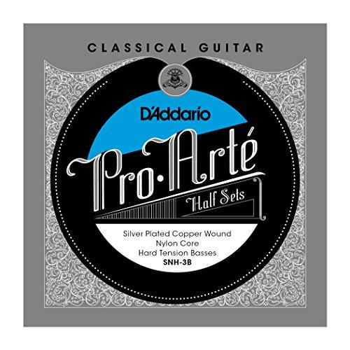 D'Addario SNH-3B Pro-Arte Silver Plated Copper on Nylon Core Classical Guitar Half Set, Hard Tension
