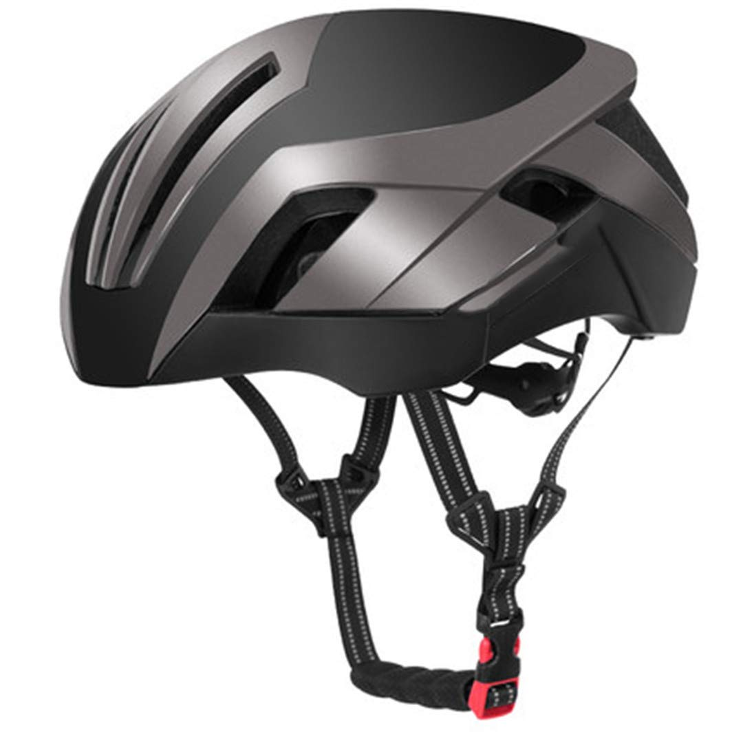 Grey Reflective Cycling Helmets 3 in 1 Style MTB Road Bicycle Men's Safety Light Bike Helmet IntegrallyMolded Pneumatic