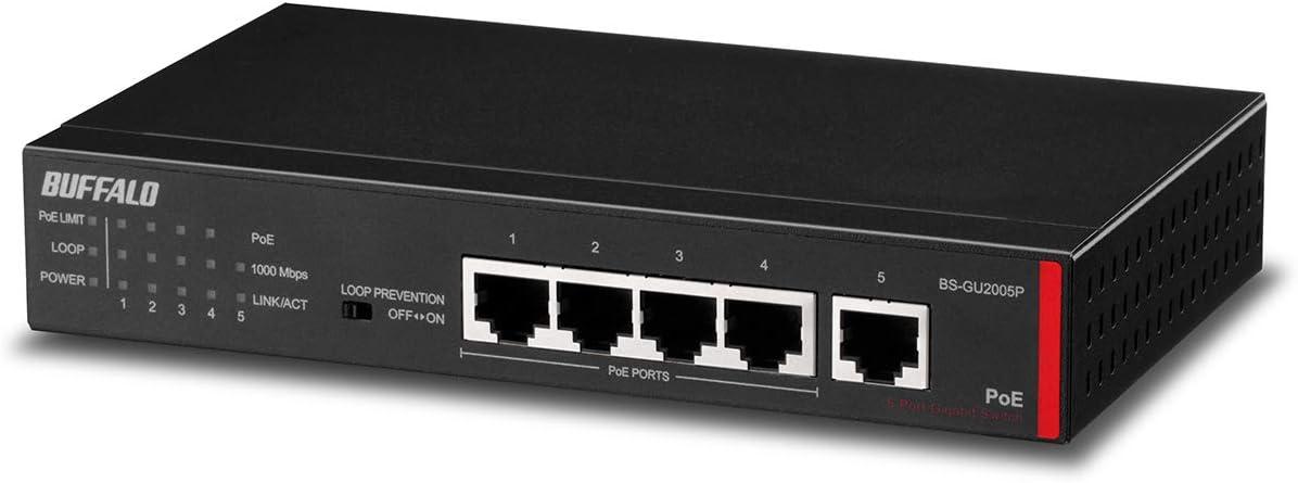 10//100//1000 BUFFALO BS-GU2005P Switch di Rete No gestito Gigabit Ethernet Poe Nero Supporto Power Over Ethernet