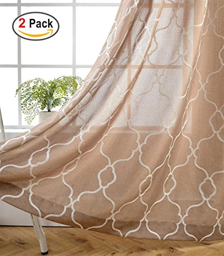 Miuco Moroccan Embroidered Semi Sheer Curtains Faux Linen Grommet Curtains for Living Room 52 x 84 Inch 2 Panels Set, Taupe (Room Set Taupe Living)